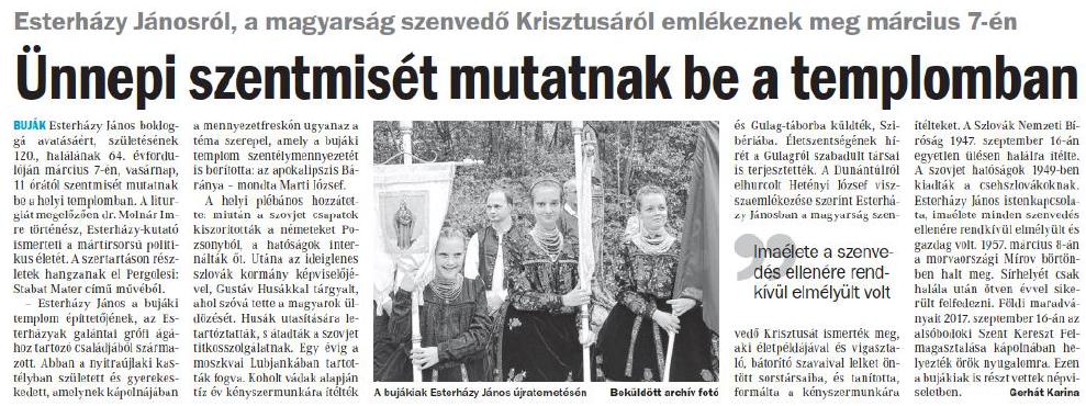 Az Esterházy 120 Emlékév kapcsán a következő megjelenéseket regisztráltuk március 5-én